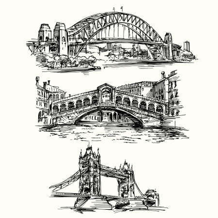 rialto bridge: famous bridges - hand drawn set