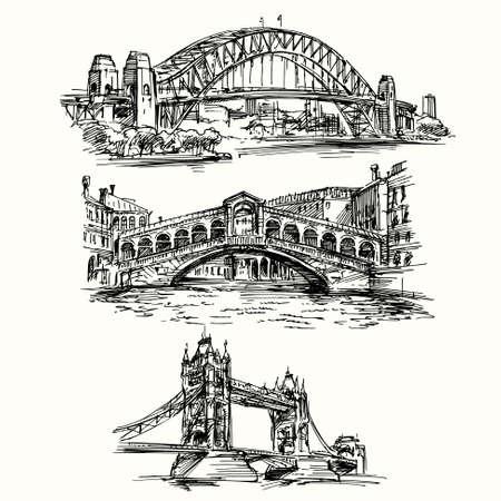 cobranza: puentes famosos - dibujado a mano conjunto