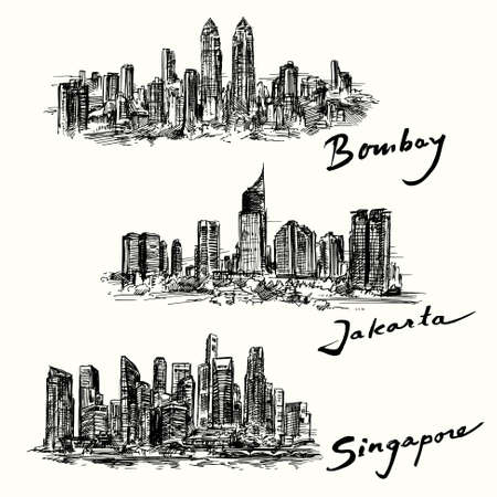 Bombay, Jakarta, Singapore skyline Illustration