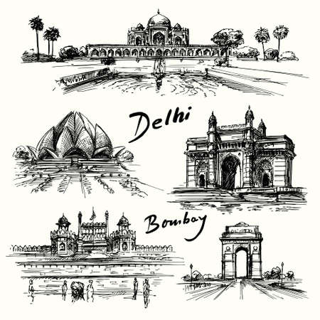 monument in india: Delhi, Bombay - hand drawn collection Illustration