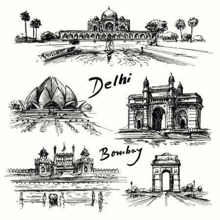Delhi, Bombay - hand drawn collection Vectores