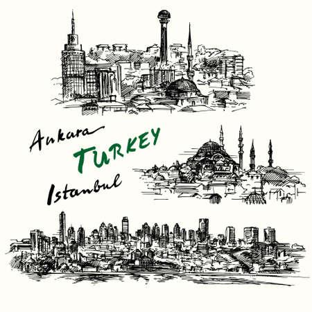 turkey: Turqu�a - colecci�n de dibujado a mano Vectores