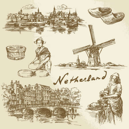 holland windmill: Netherlands - hand drawn set