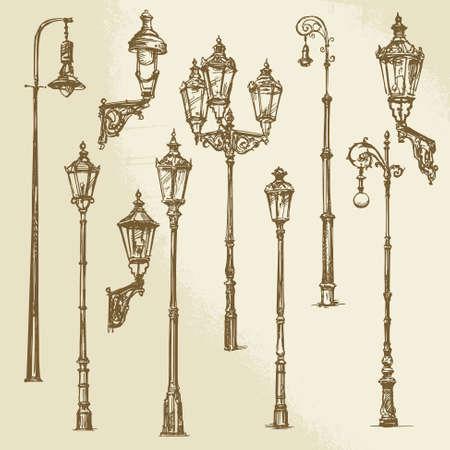 уличный фонарь: Уличный фонарь набор Иллюстрация