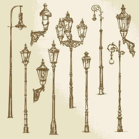 metal post: Street lamp set