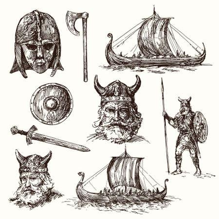 vikingo: vikingos - conjunto dibujado a mano