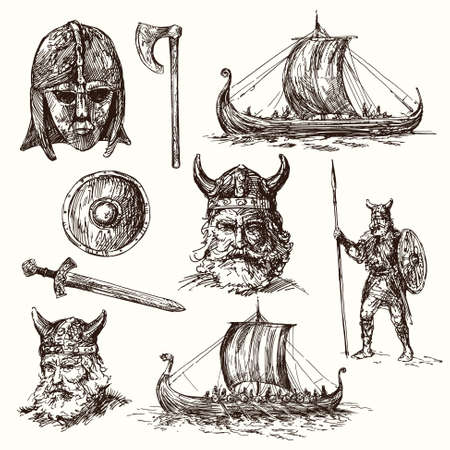 navy ship: vikings - hand drawn set