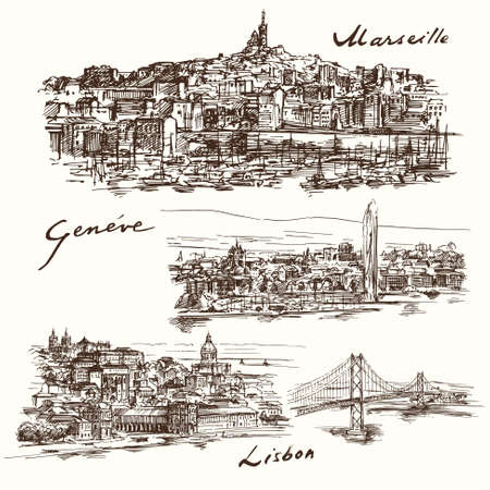 swiss alps: Marseilles, Geneva, Lisbon Illustration