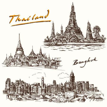 태국, 방콕 - 손으로 그린 세트 일러스트