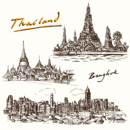 the temple: Thailand, Bangkok - hand drawn set Illustration