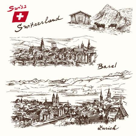 swiss alps: switzerland - han drawn set