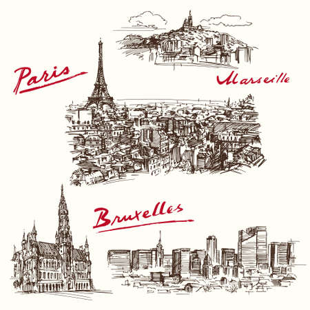 Paris, Marseilles, Brussels - hand drawn set Vector