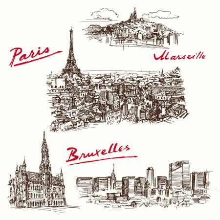 Paris, Marseilles, Brussels - hand drawn set Zdjęcie Seryjne - 40276321