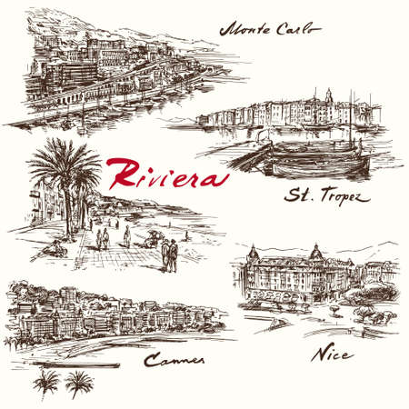 panoramic beach: French Riviera - hand drawn set