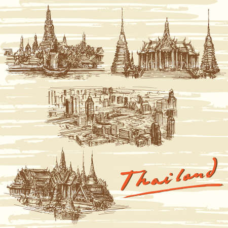 sketch drawing: Thailand, Bangkok - hand drawn set Illustration
