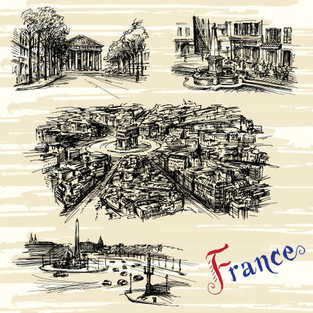nice france: France - Paris, Nice - hand drawn collection Illustration