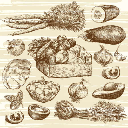 hand basket: vegetables - hand drawn collection Illustration