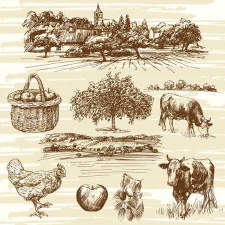 dessin: ferme, récolte, paysage rural - dessiné à la main ensemble