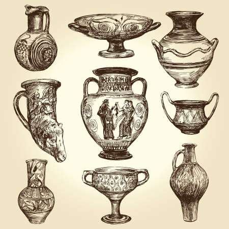amphora: Greek vases, hand drawn collection