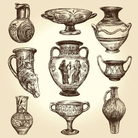 Vases grecs, collection dessinée à la main