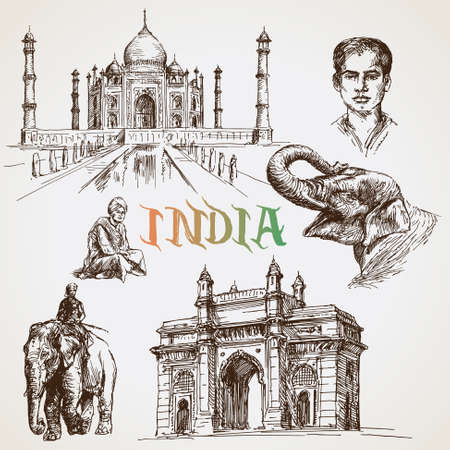 uttar: India,Taj Mahal. Vector illustration Illustration