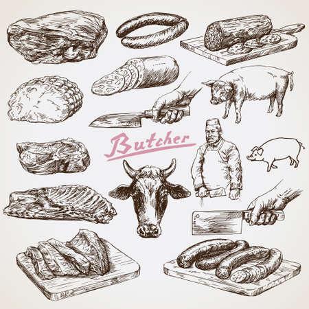 jamon: La carne, el carnicero. Mano vector dibujado Vectores