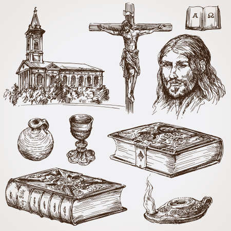 Symbols of christian faith Illustration
