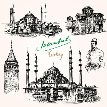 이스탄불. 손으로 그려진 된 컬렉션입니다. 일러스트