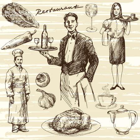 hand illustration: Hand drawn illustration. Waiter serving wine on a tray.