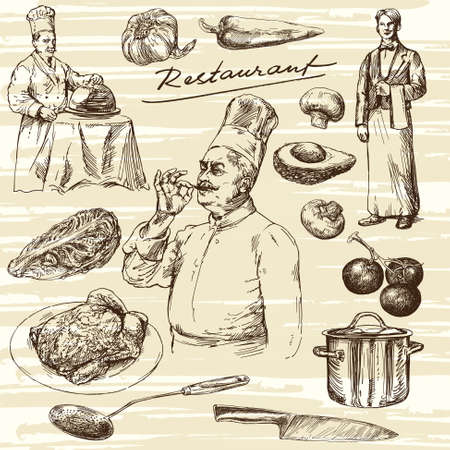 Hand getrokken illustration.Food voorbereiding. Chef portret.
