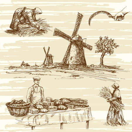 panadero: molino de viento y panadería, productos, colección de dibujado a mano