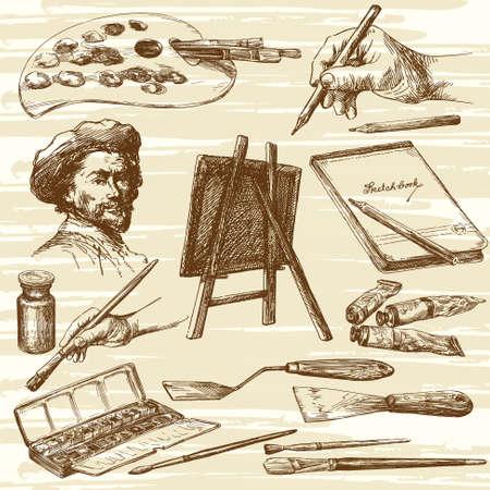 attrezzature Artista - collezione disegnata a mano