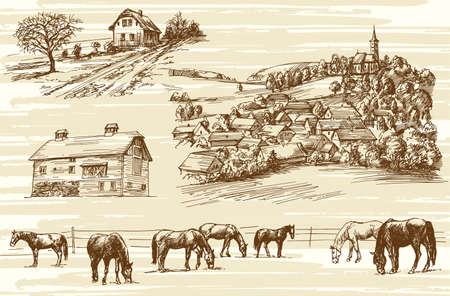 cutting grass: Farm and horses - hand drawn set