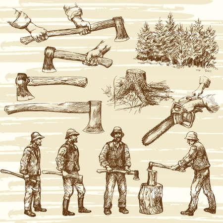 woodcutter: Lumberjacks, cutting wood - hand drawn collection Illustration