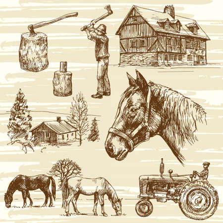 old horse: Farm and horses - hand drawn set