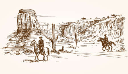 American wild west desert with cowboys - hand drawn illustration Stock Illustratie