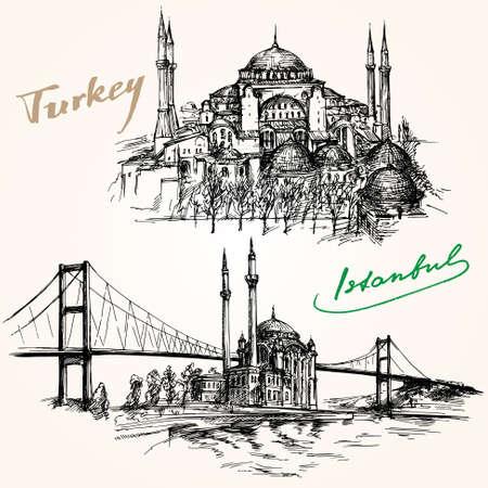 보스포러스 다리. 손이 설정 그려. 터키 이스탄불. 일러스트