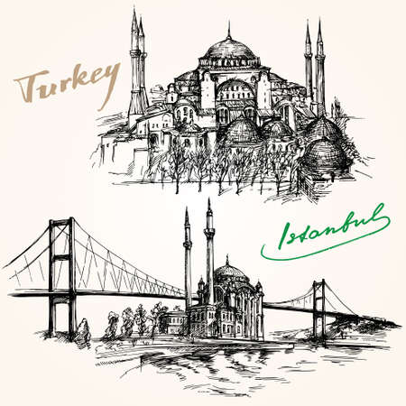 hagia sophia: Bosporus Bridge. Hand drawn set. Istanbul, Turkey.