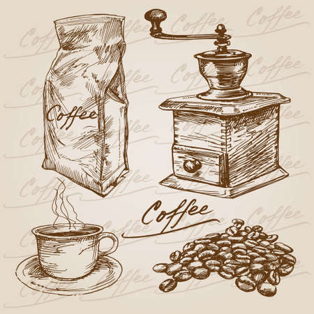 coffee mill: Hand drawn coffee collection