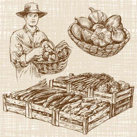 농민 시장에서 야채, 손으로 그려진 세트