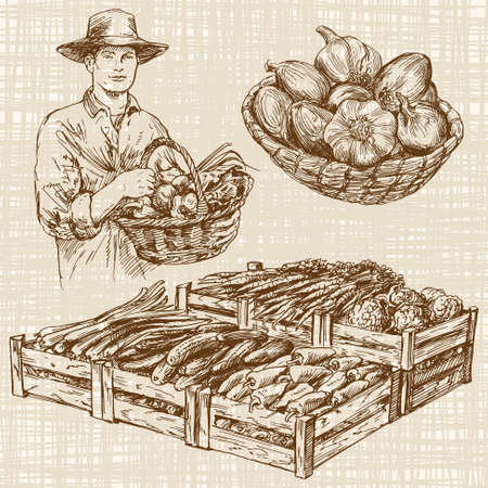 Vegetables at a farmers market, hand drawn set Stock Illustratie