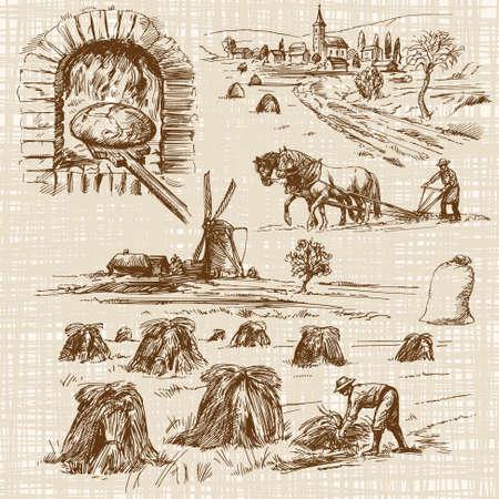 bake: baker,bake bread, windmill - hand drawn collection Illustration