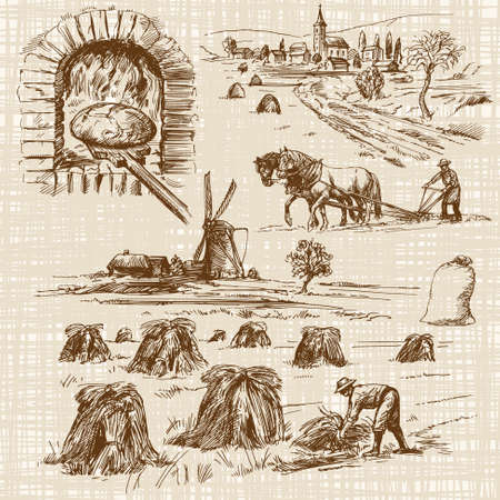 baker,bake bread, windmill - hand drawn collection Vectores