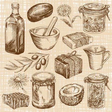 jabon: jabón natural hecho a mano - dibujado a mano conjunto