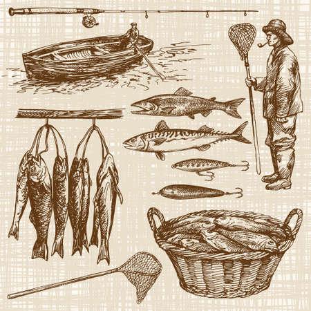 pecheur: Pêche. Hand Drawn réglé.
