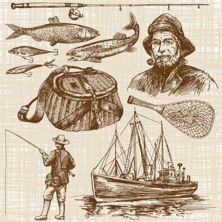 Pescar. dibujado a mano conjunto Foto de archivo - 55080118