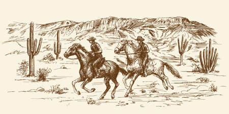 American wild west desert with cowboys - hand drawn illustration Ilustracja
