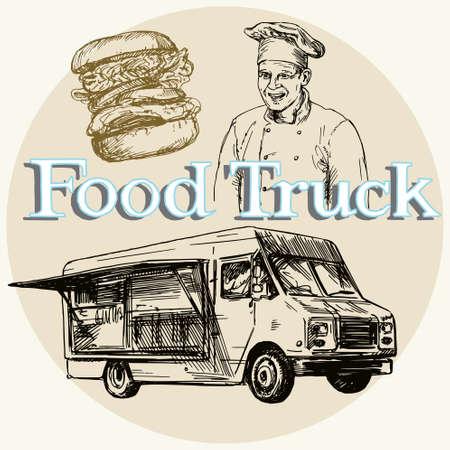 hand truck: Food truck. Hand drawn illustration.