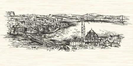 hagia sophia: Istanbul, Turkey.Hand drawn illustration.
