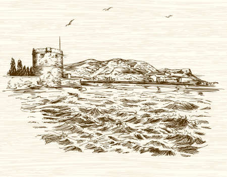 Torre defensiva en el Mar Mediterráneo. Dibujado a mano ilustración. Ilustración de vector